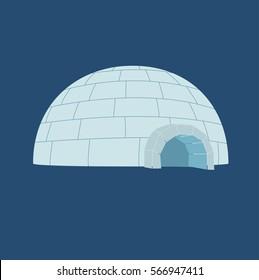 Ice House igloo. Vector illustration, isolated on a dark blue background.