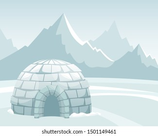 Ice igloo in the field against the mountains. Winter Northern landscape. The life of the Inuit.