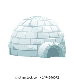 Ice igloo. Winter Northern landscape. The life of the Inuit.