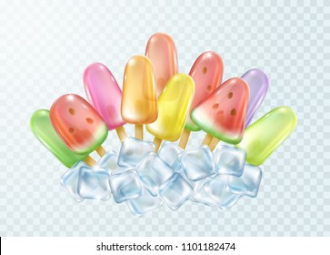Ice lolly on transparent background. Realistic color freeze juice on stick with icecube. Vector glossy homemade tropical popsicles template for your advertising design.