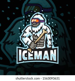 ice man mascot logo esport gaming. ice man mascot logo illustration.