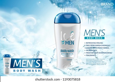 Ice men's body wash ads with frozen background in 3d illustration