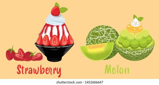ice milk Korean dessert, strawberry and melon bingsu, sweet dessert set, dessert cafe