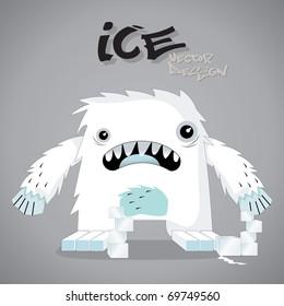 ice monster cartoon vector