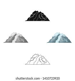 Ice mountain all the cracks.The mountain from which icebergs. Different mountains single icon in cartoon,black style vector symbol stock illustration.
