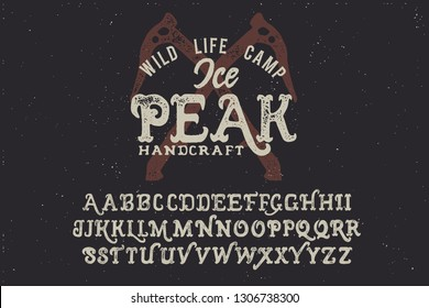 Ice peak camp badge. Original font and logo. Print on shirt or sticker. Retro and vintage style. Old school. Classic print. Hipster style. Print for shirt. Vector serif font. Handmade font.