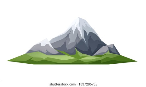 Ice peak mountain with green meadows at foothills. Natural landscape design element, symbol of travelling and adventure. Fuji japanese mountain cartoon icon. Vector illustration