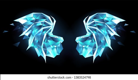 Ice, polygonal, blue, transparent, sparkling dragon wings on black background.