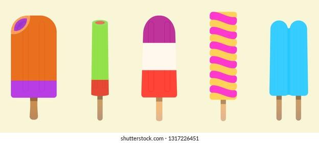 Ice pop, popsicle, Ice cream vector set