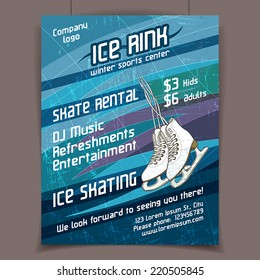 Ice rink advertising poster on scratched ice winter vector background