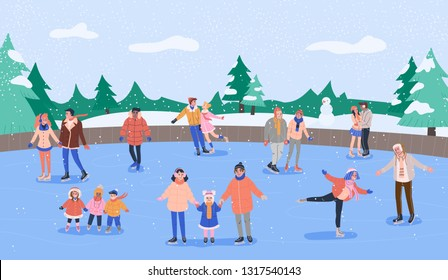 Ice rink with various smiling people skating with their friends and families and having fun. Forest landscape with trees, snowman and snow. Vector concept illustration in flat style