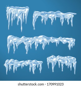 Ice sheets with icicles and snowflakes vector illustration