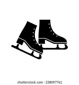 Ice skate black silhouette isolated. Vector illustration