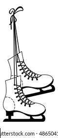 Ice skate boots contour. Vector clip art.