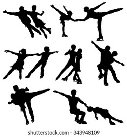 Ice Skate Dance Silhouettes - Vector Image