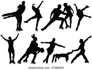 ice skate dance silhouettes - vector