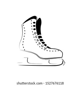 Ice skate icon logo. Figure skating symbol outline drawing, stylized thin line, sketch. Winter sport activity design. Isolated vector sign on white background.