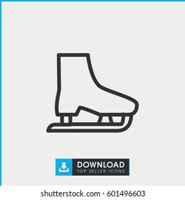 ice skate icon. simple outline ice skate vector icon. on white background.
