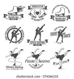 Ice Skate label logo design. Winter sports. Retro logo design. Old school logotypes.