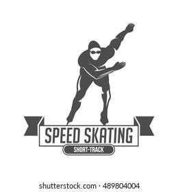 Ice Skate label logotype design. Ice skating boot, speed scating, figure skating. Vintage winter sportsd logo design. Monochrome badge.