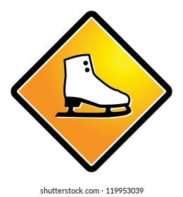 Ice skate shoe sign, vector illustration
