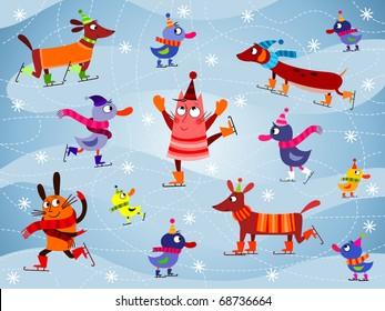 Ice skating cartoon animals - vector (EPS 10)