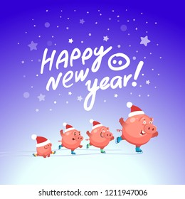 Ice skating party of funny pigs. Happy new year 2019. Vector illustration