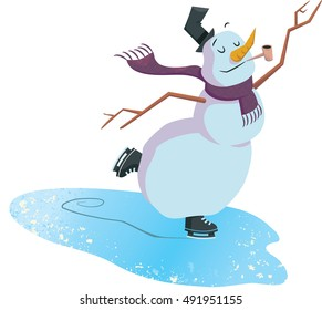An ice skating snowman enjoys the winter weather