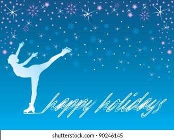 Ice skating/happy holidays vector
