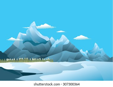 Ice and snow plain with mountains and pine forest.