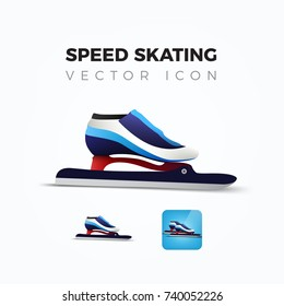 Ice speedskating skates realistic vector icon.