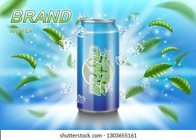 Ice tea label ads with green leaves on blue background. Package design tea drink with ice cubes for poster or banner. Realistic aluminium can mock up. Vector 3d illustration