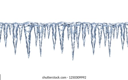 Ice texture. Icicles isolated on white. Seamless icicles line border. Vector design element.