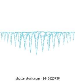Ice texture. Icicles isolated on white. Seamless icicles line border. Vector