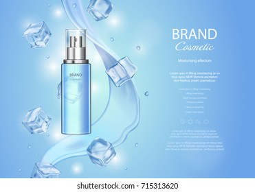 Ice toner ads with ice cubes. Blue spray bottle, water drops, realistic vector illustration, sparkling effect, waves background