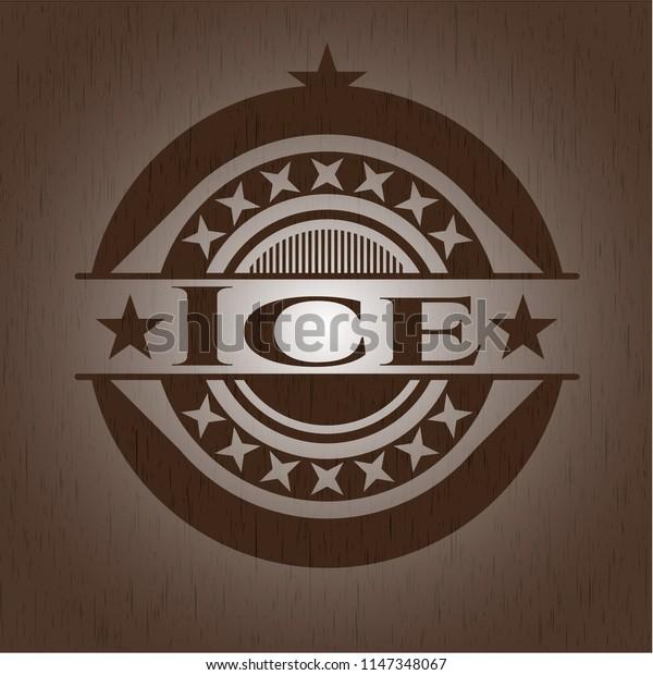 Ice vintage wooden emblem