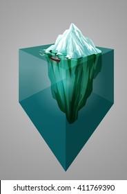 Iceberg background. Isometric 3D illustration. Underwater or above water level. Vector illustration