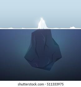 Iceberg background. Underwater.