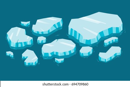 Iceberg big set cartoon. Ice and Icebergs in isometric 3d flat style. Set of different ice block in water. Video Game