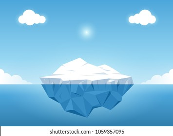 Iceberg in blue ocean on the summertime. Iceberg with above and underwater view in the ocean. Vector illustration