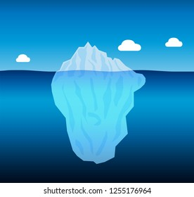Iceberg with clouds isolated - vector illustration