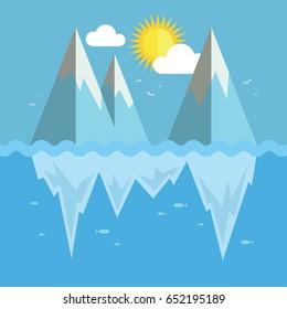 Iceberg flat graphic design. Infographic ice and snow theme.