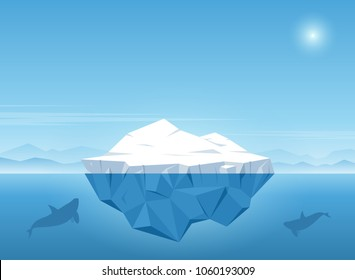 Iceberg floating in blue ocean. Iceberg with above and beautiful transparent underwater view in the ocean. Whale swims under the iceberg. Vector illustration