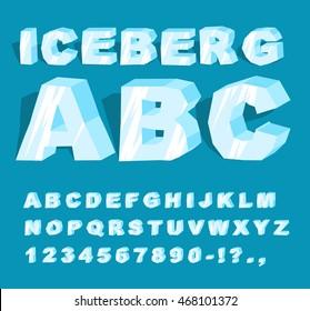 Iceberg font. Ice alphabet. Blue transparent letters