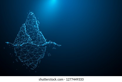 Iceberg form lines, triangles and particle style design. Illustration vector