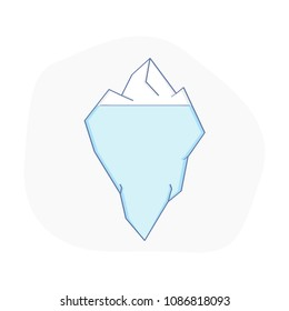 Iceberg, hidden problems concept. Polygonal iceberg under and above water as business or personal problem. Flat line vector illustration concept.