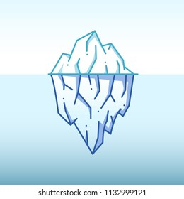 Iceberg illustration for infographic, outline style