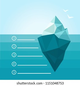 Iceberg, illustration, vector, underwater, background, ocean, water, ice, infographic, sea, design, template, blue, white, concept, abstract, winter, business, under, antarctic, polar, symbol.