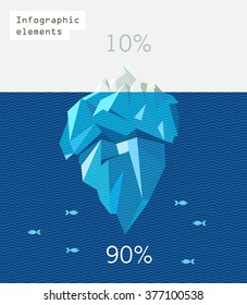 iceberg infographic polygon flat illustration. Blue waves and  small fishes.