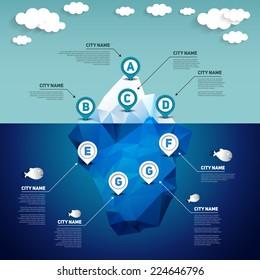 Iceberg infographic, vector illustration